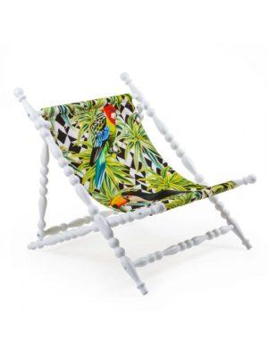 Deckchair Parrots White Heritage