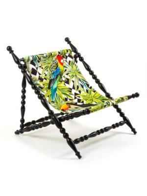 Deckchair Parrots Black Heritage